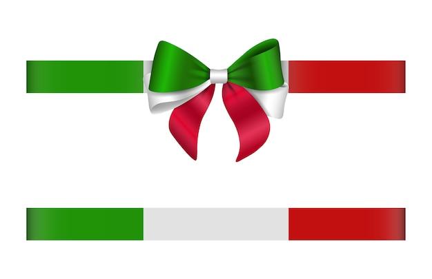 Fiocco e nastro con i colori della bandiera italiana. fiocco e nastro italiano Vettore Premium