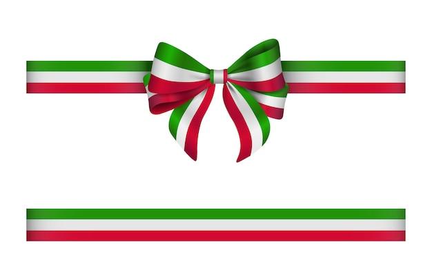 Fiocco e nastro con i colori della bandiera italiana Vettore Premium