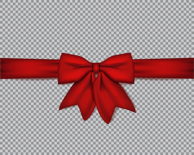 Fiocco rosso realistico decorativo Vettore Premium
