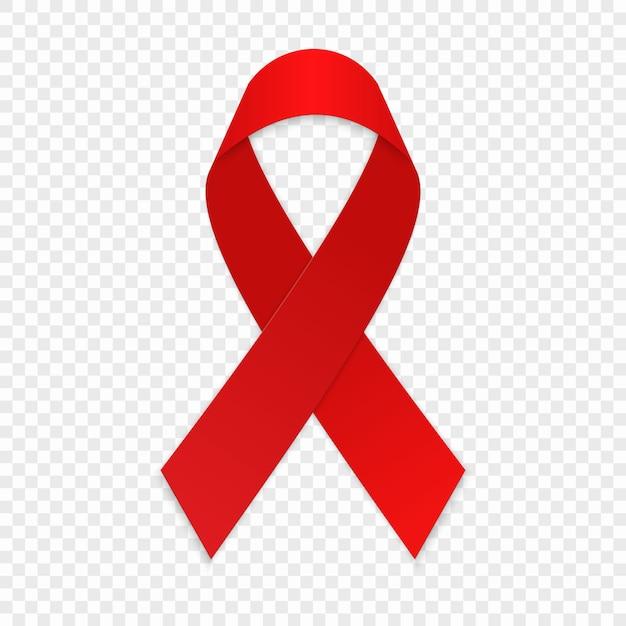 Fiocco rosso. simbolo di consapevolezza dell'aids. Vettore Premium