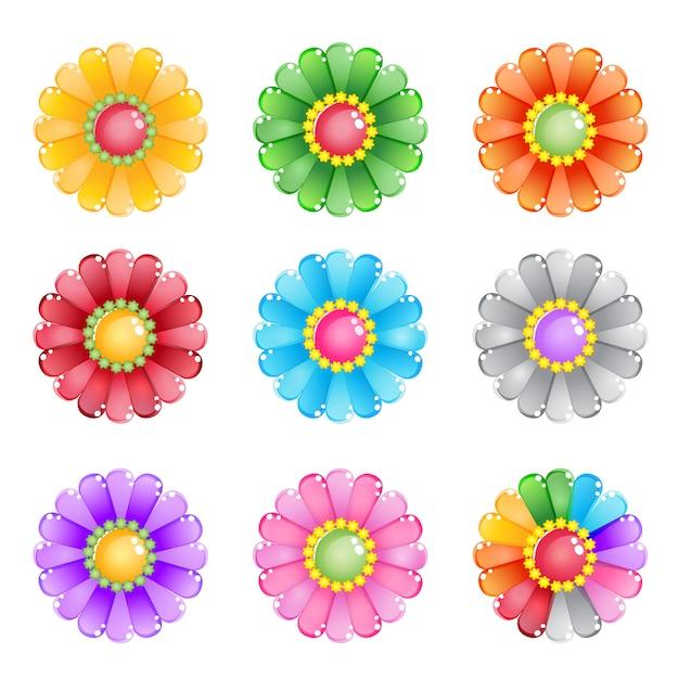 Fiore 8 colori e 1 arcobaleno. Vettore Premium
