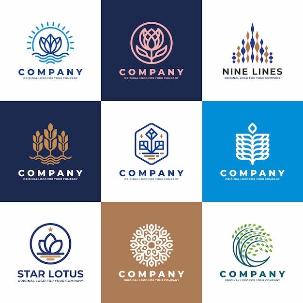 Fiore, acqua, pianta, collezione di design del logo aziendale. Vettore Premium