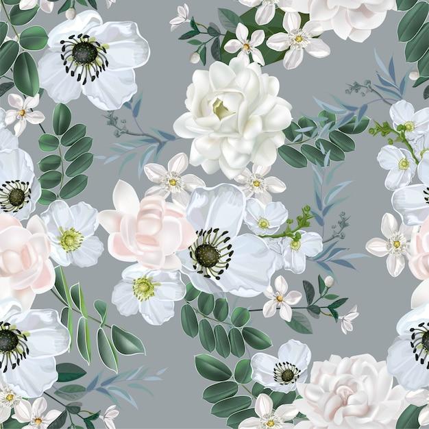 Fiore bianco con il modello senza cuciture del gelsomino su bianco Vettore Premium