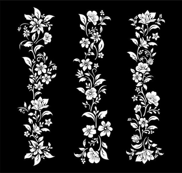 Fiore bianco e nero design di taglio Vettore Premium