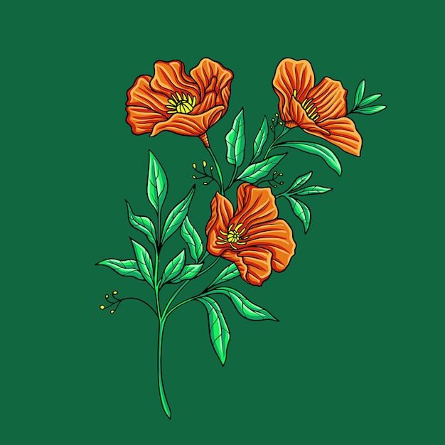 Fiore d'autunno su verde Vettore Premium