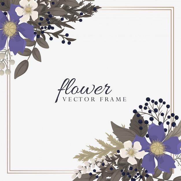 Fiore del fondo - corona rossa, blu-chiaro, dei fiori bianchi Vettore gratuito