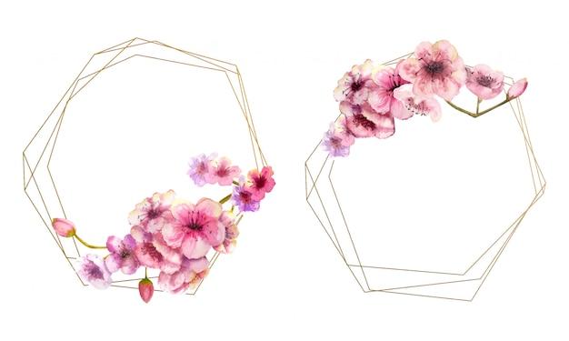 Fiore di ciliegio, ramo di sakura con fiori rosa su montatura in oro e isolato su bianco. immagine di primavera. 2 cornici con fiori ad acquerelli. illustrazione. Vettore Premium