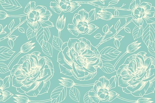 Fiore disegnato a mano realistico su sfondo blu pastello Vettore gratuito