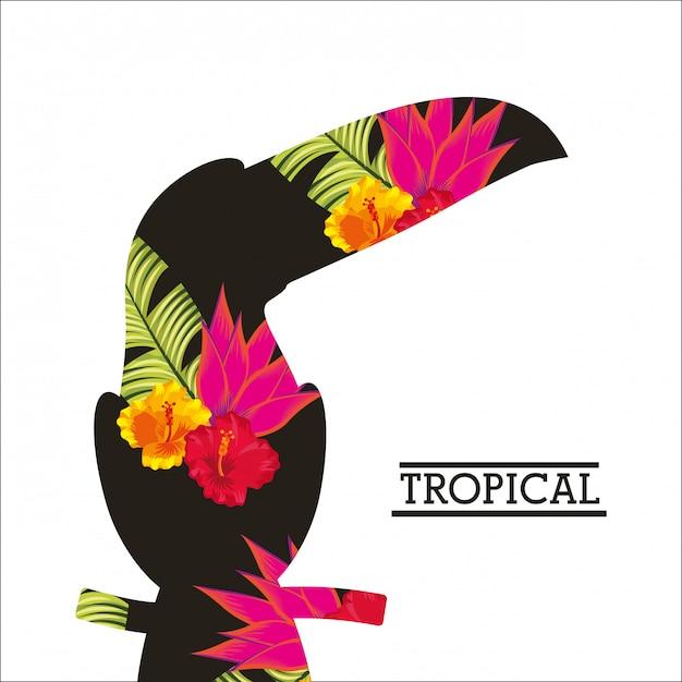 Fiore tropicale lascia carta animale Vettore Premium