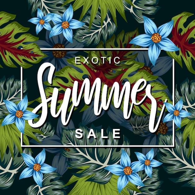 Fiore tropicale per l'illustrazione del manifesto di estate Vettore Premium