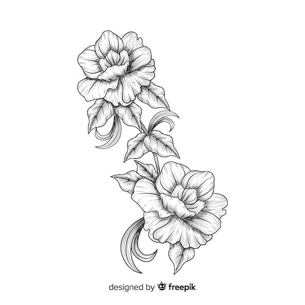Fiori barocchi disegnati a mano Vettore gratuito