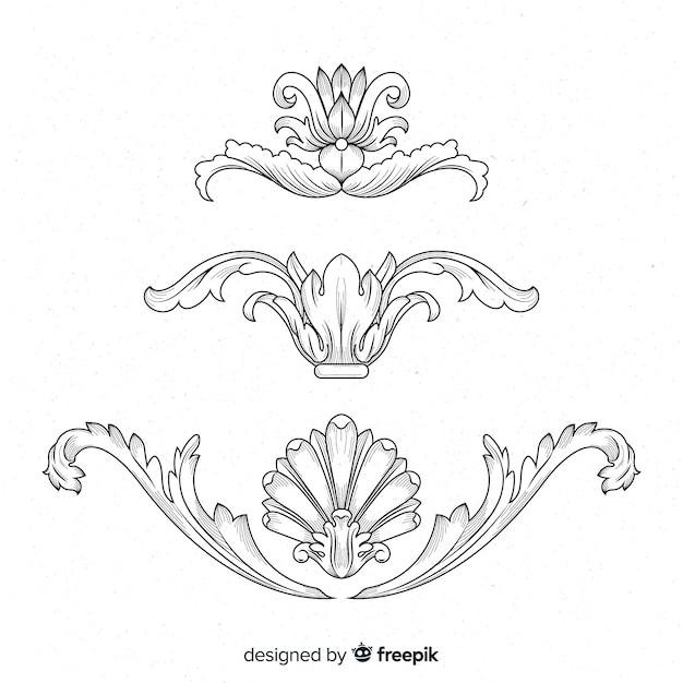 Fiori barocchi vintage disegnati a mano realistici Vettore gratuito