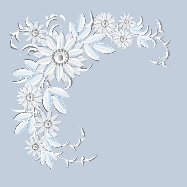 Fiori bianchi della decorazione di festa dell'ornamento floreale Vettore Premium