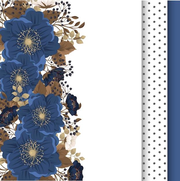 Fiori blu bordo floreale Vettore gratuito