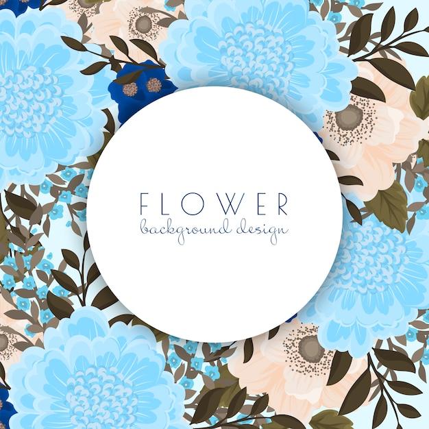 Fiori blu-chiaro del modello del bordo del fiore Vettore gratuito