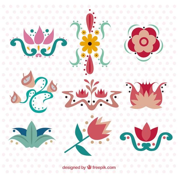 Fiori colorati ornamentali in stile liberty vettore gratis for Fiori ornamentali