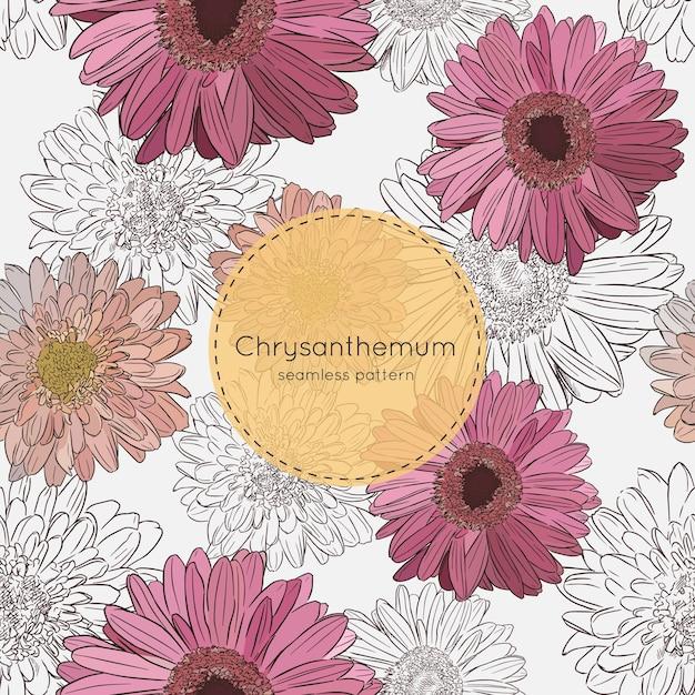 Fiori del crisantemo, vettore senza cuciture del modello. Vettore Premium