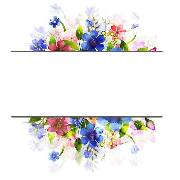Fiori di acquerello fiori decorato sfondo. Vettore Premium