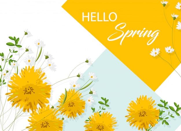Fiori di crisantemo giallo con camomilla bianca. ciao idea di primavera Vettore gratuito