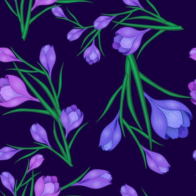 Fiori di croco blu scuro Vettore Premium