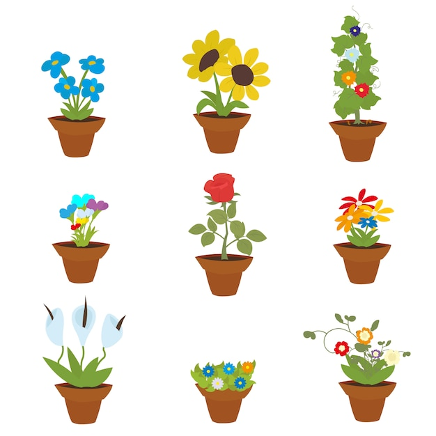 Fiori di primavera in vaso Vettore Premium