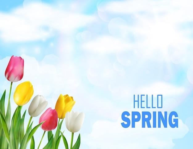Fiori di tulipani bella primavera Vettore Premium