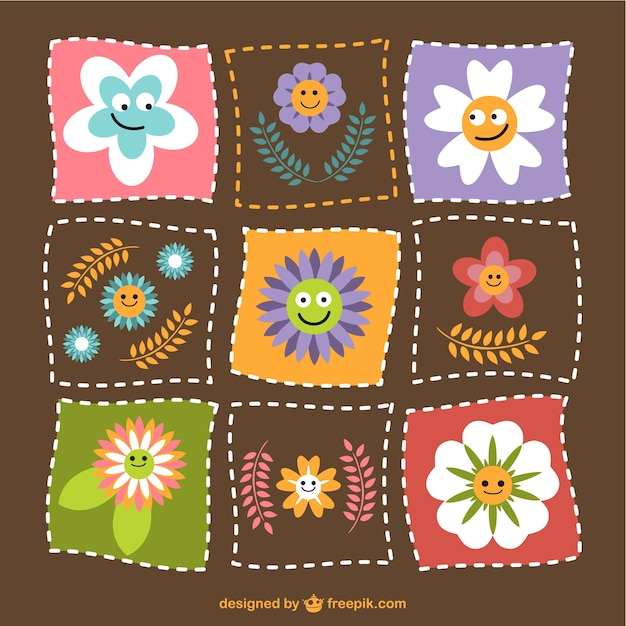 Fiori divertente vector download Vettore gratuito