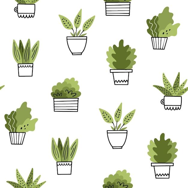 Fiori domestici in vaso. reticolo senza giunte nello stile di doodle Vettore Premium