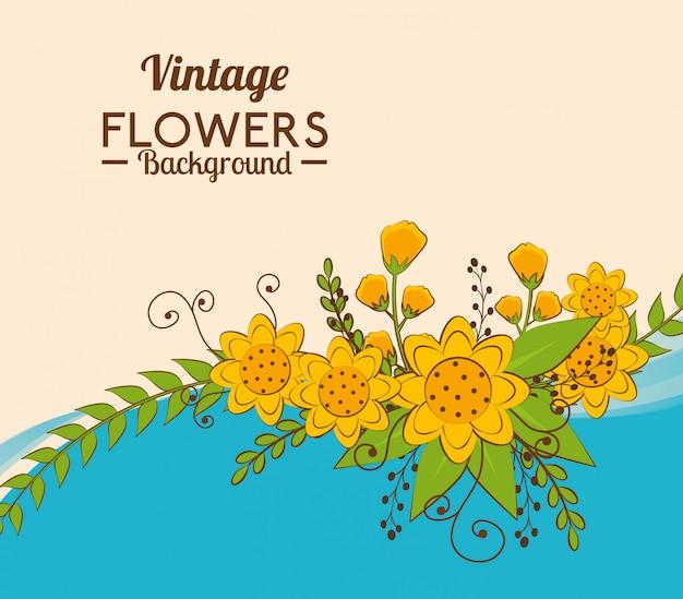 Fiori e disegno floreale. Vettore Premium