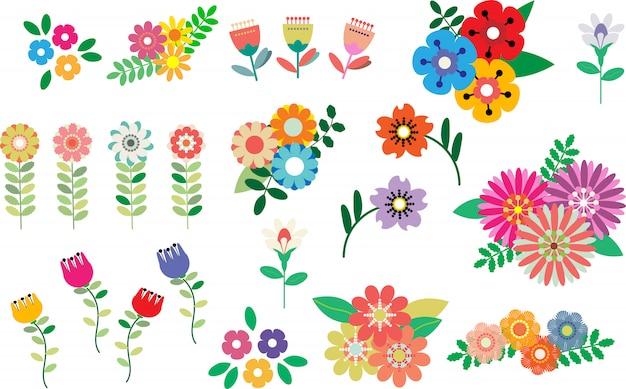 Fiori e foglie, set di primavera Vettore Premium