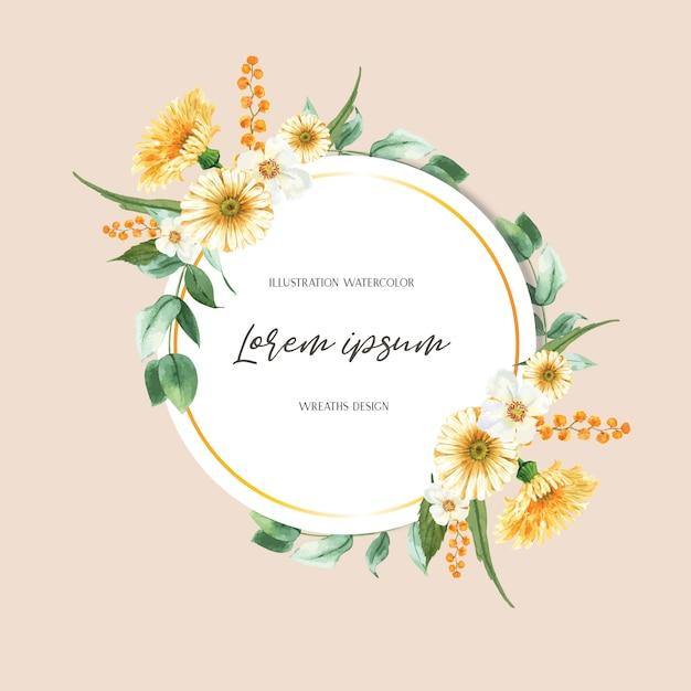 Fiori freschi della struttura della corona della primavera, carta della decorazione con il giardino variopinto floreale, nozze, invito Vettore gratuito