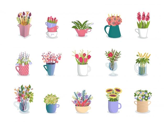 Fiori multicolori in tazze, composizioni nel fiorista di tulipani, orchidee, gigli, margherite e mazzo nell'insieme floreale dell'illustrazione delle tazze. Vettore Premium