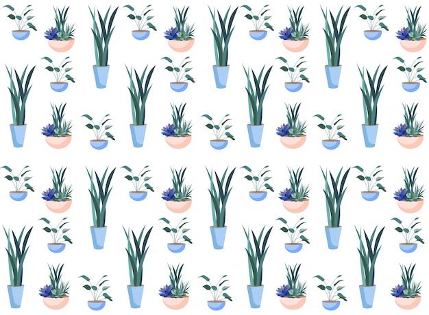 Fiori nel modello senza cuciture botanico dei vasi di ceramica Vettore Premium