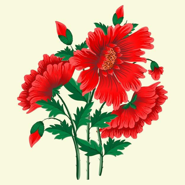 Fiori rossi disegnati a mano Vettore gratuito