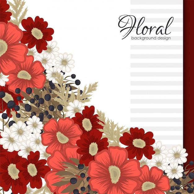 Fiori rossi e bianchi del fiore rosso Vettore gratuito