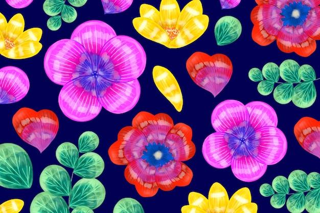Fiori rossi e viola con foglie esotiche motivo di sfondo Vettore gratuito