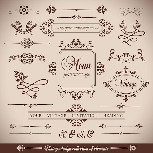 Fiori vintageretro telaio e calligrpaphic elementi Vettore gratuito