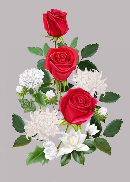 Fiorisca il bello mazzo con il illlustration delle rose rosse, del crisantemo e della magnolia Vettore Premium