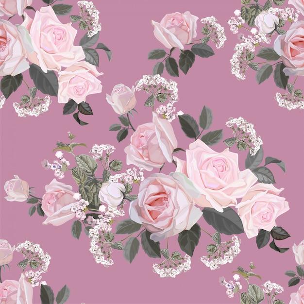 Fiorisca il modello senza cuciture con l'illustrazione di vettore della rosa di rosa Vettore Premium