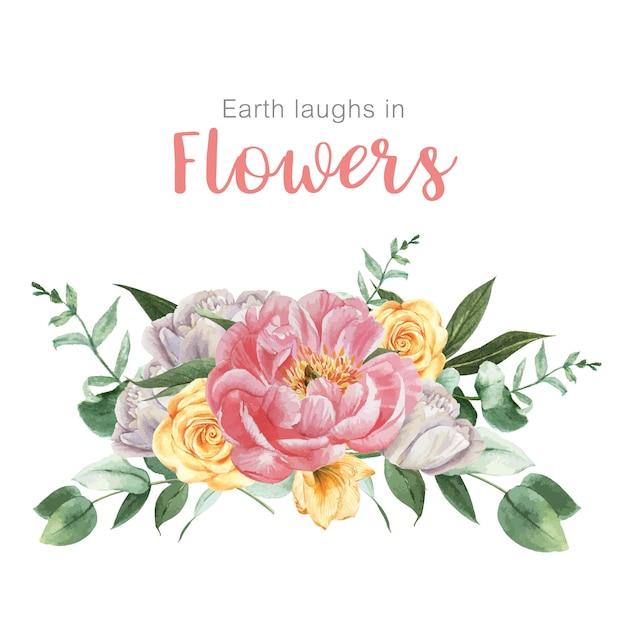 Fioritura botanica del mazzo dell'acquerello del fiore botanico Vettore gratuito