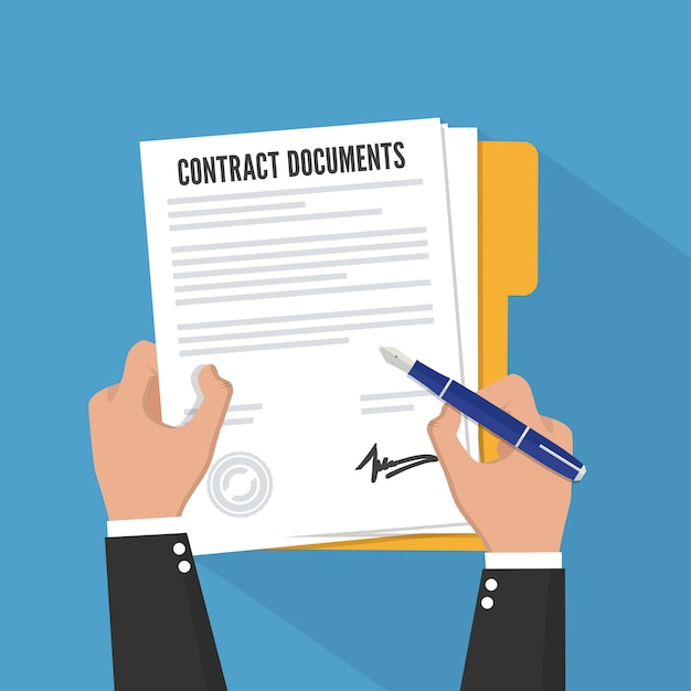 Firma del contratto. stile piatto. Vettore Premium