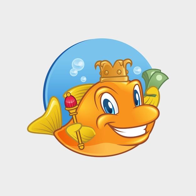 Fish king mascot Vettore Premium