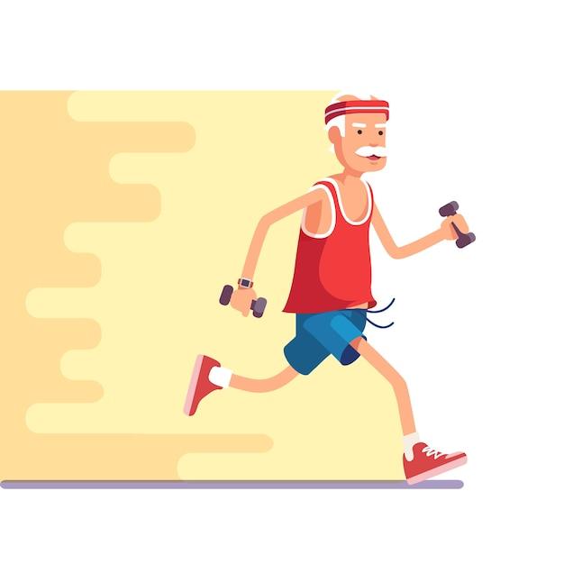 Fit anziano uomo che fa jogging con manubri in mano Vettore gratuito