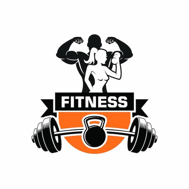 Fitness body building logo Vettore Premium