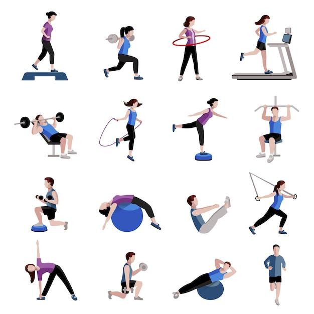 Fitness cardio esercizio e attrezzature per le donne uomini due collezioni di icone piatte tinte Vettore gratuito