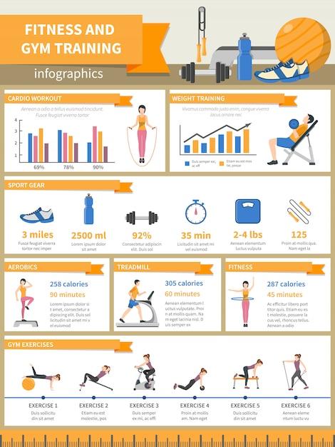 Fitness e palestra formazione infografica Vettore gratuito