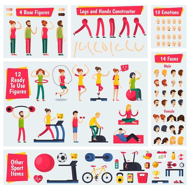Fitness training people character costruttore Vettore gratuito
