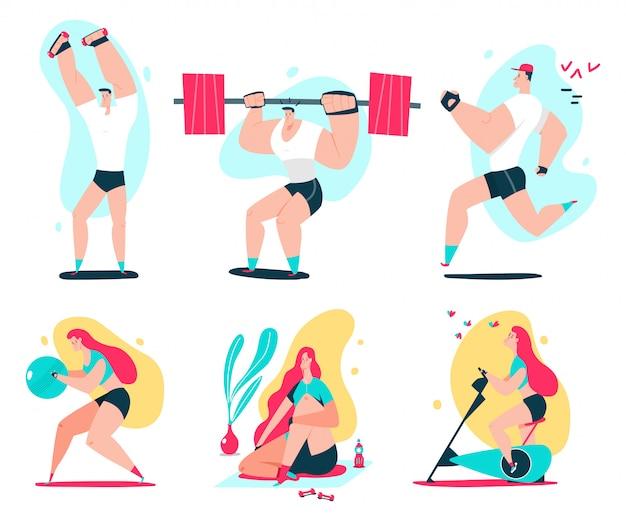 Fitness uomo e donna facendo esercizio. illustrazione del fumetto di vettore di allenamento delle coppie. Vettore Premium