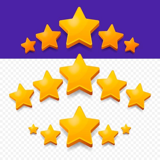 Five stars rating oro. Vettore Premium