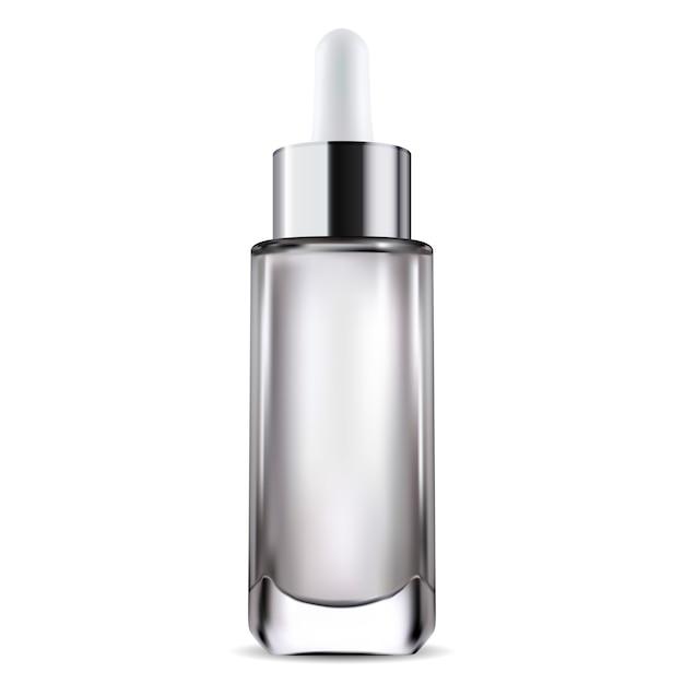 Flacone di prodotto siero, modello di goccia cosmetica Vettore Premium